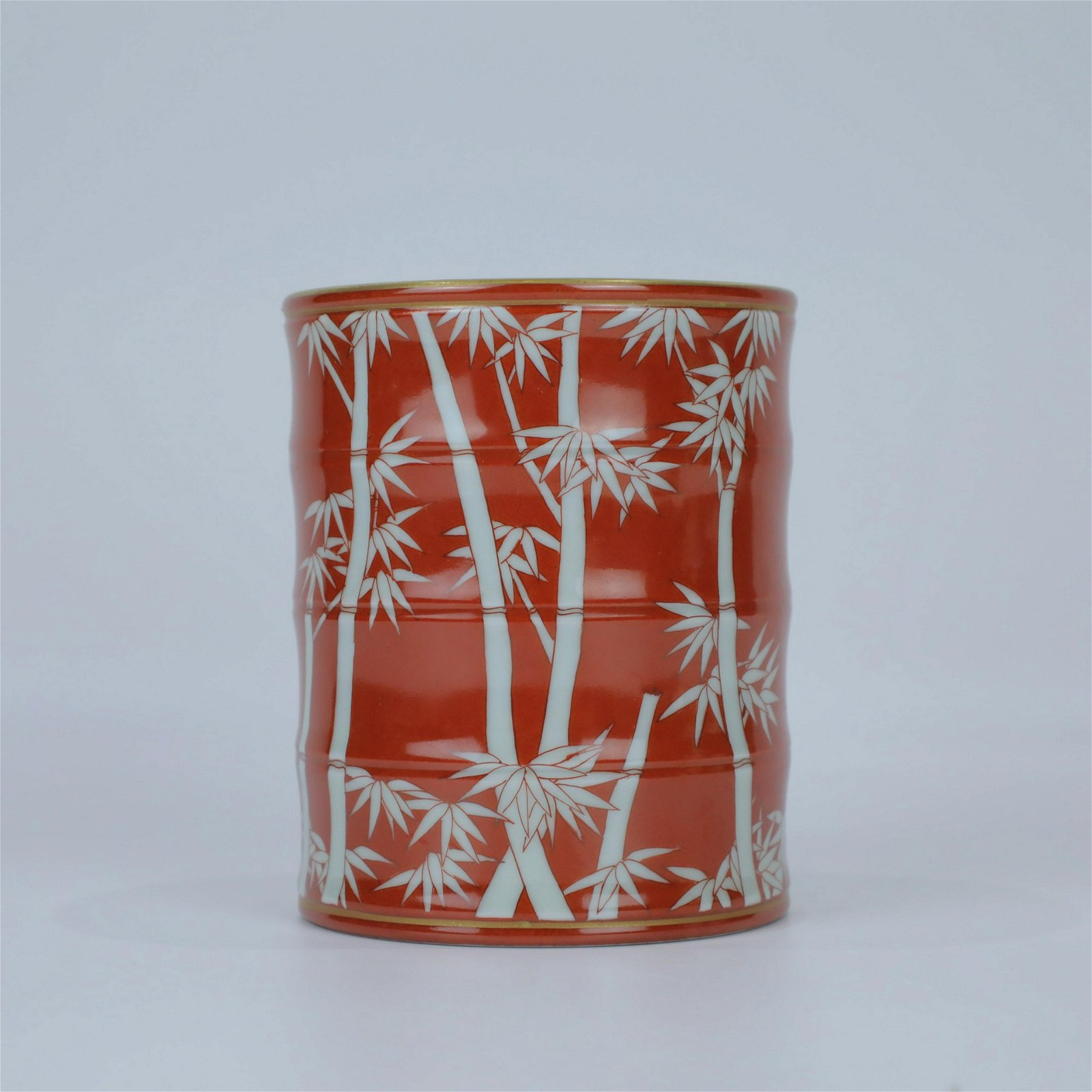 A Chinese Coral-Red Porcelain Brush Pot