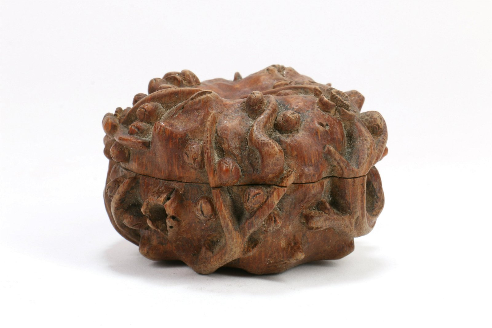 A Chinese Carved Bamboo Box with Cover