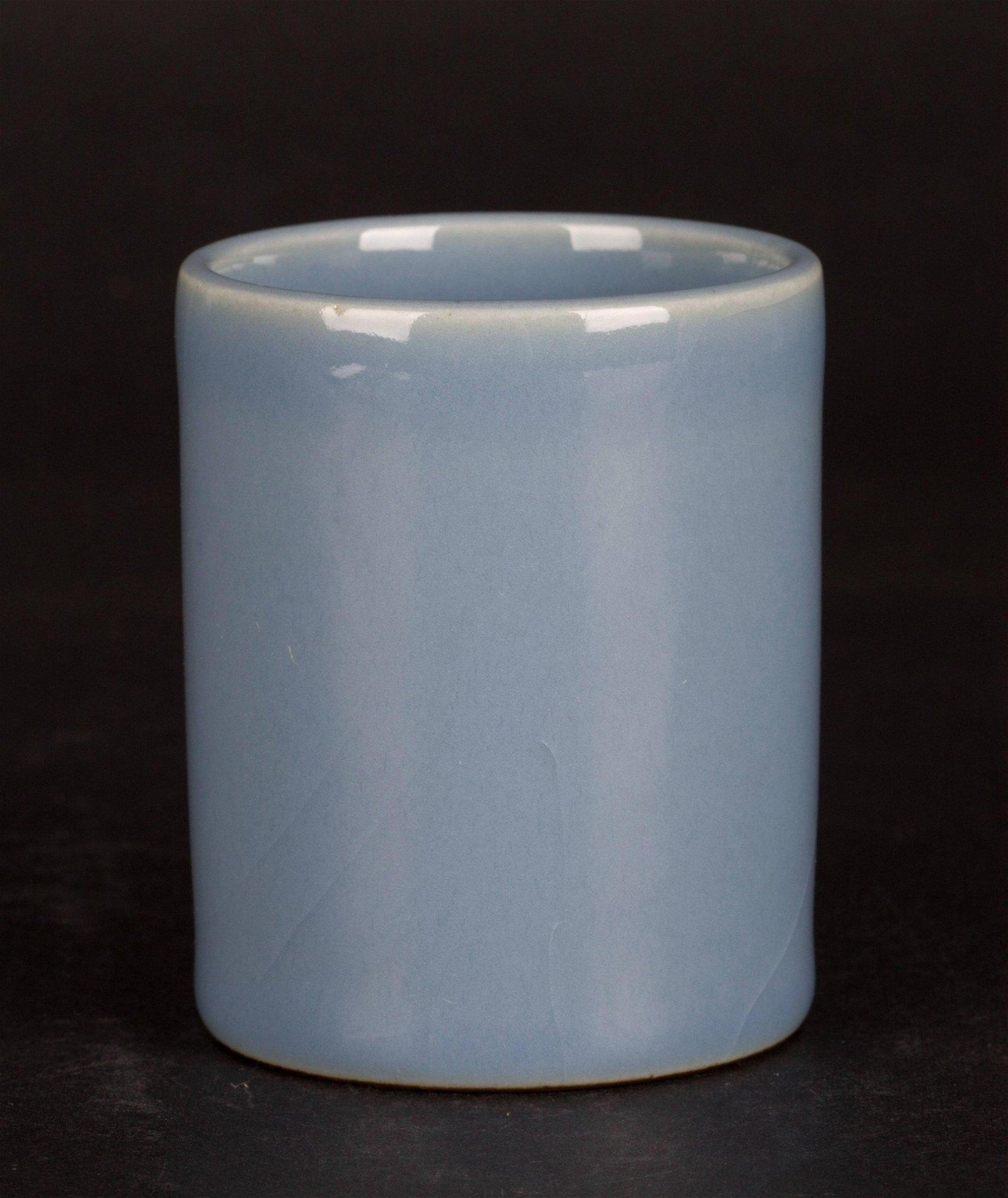 A Chinese Blue Glazed Porcelain Brush Pot