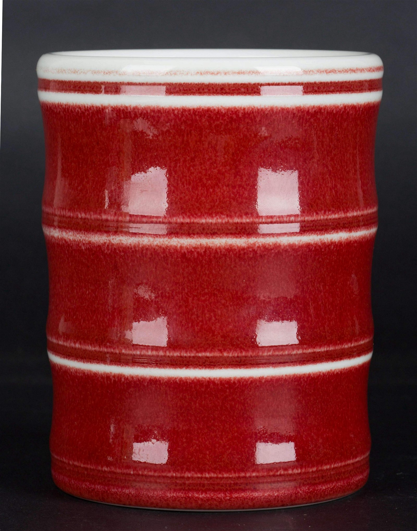 A Chinese Red Glazed Porcelain Brush Pot