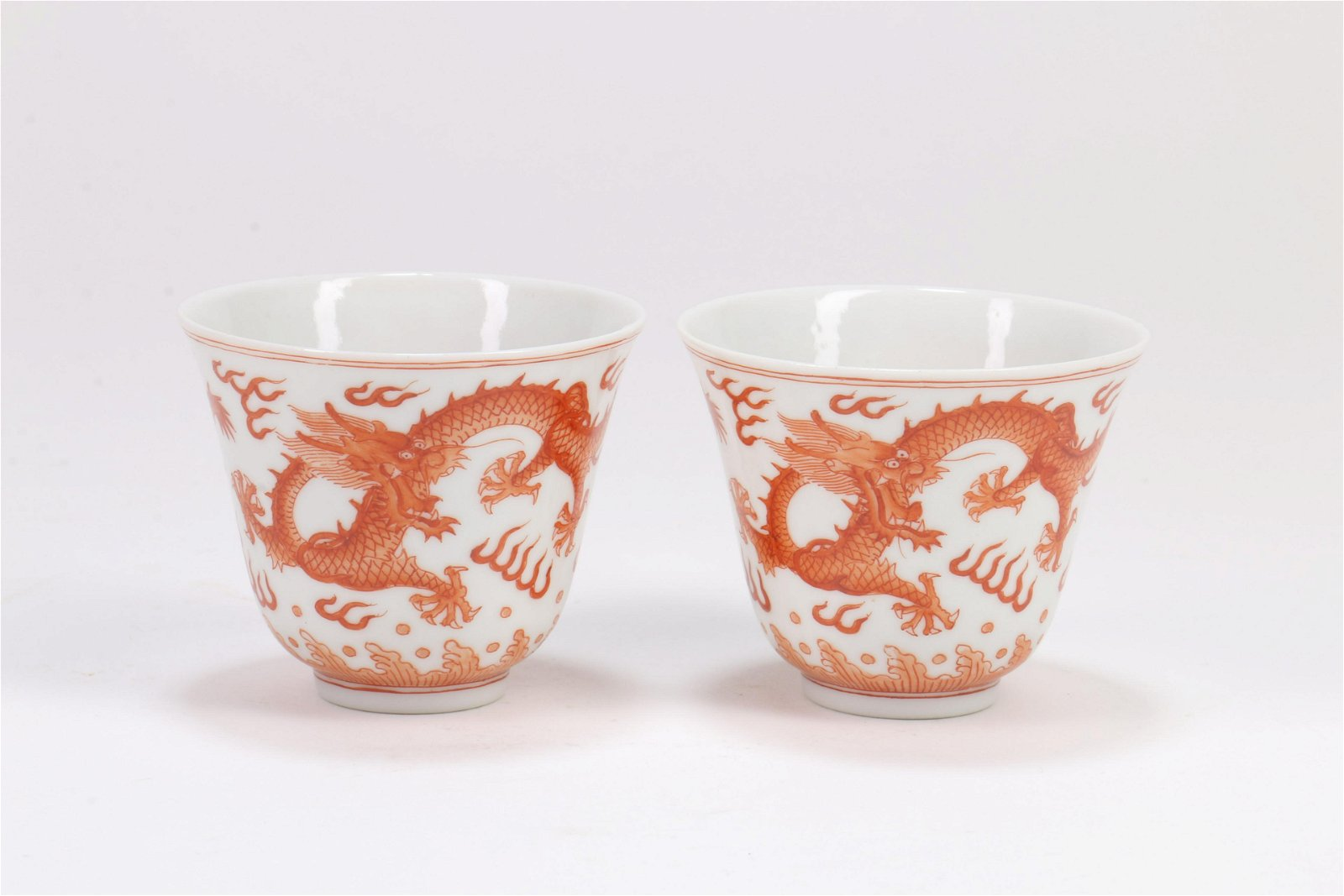 A Pair of Chinese Iron-Red Porcelain Cups