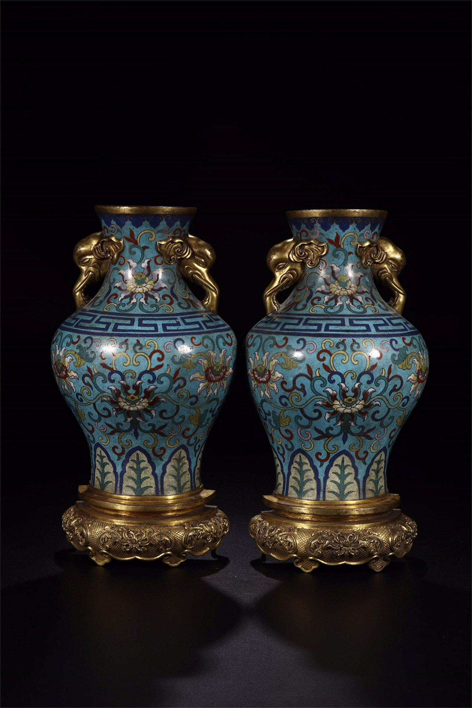 A Pair of Chinese Gilt Bronze Cloisonne Vases