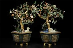 A Pair of Chinese Bronze Cloisonne Planters