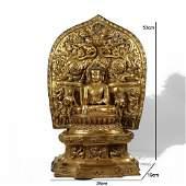 A Bronze Gilding Buddha Statue of Sakyamuni