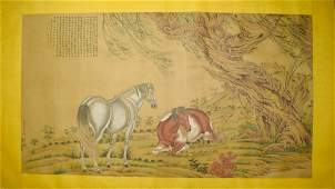 A Chinese Horse Silk Scroll, Shining Lang Mark
