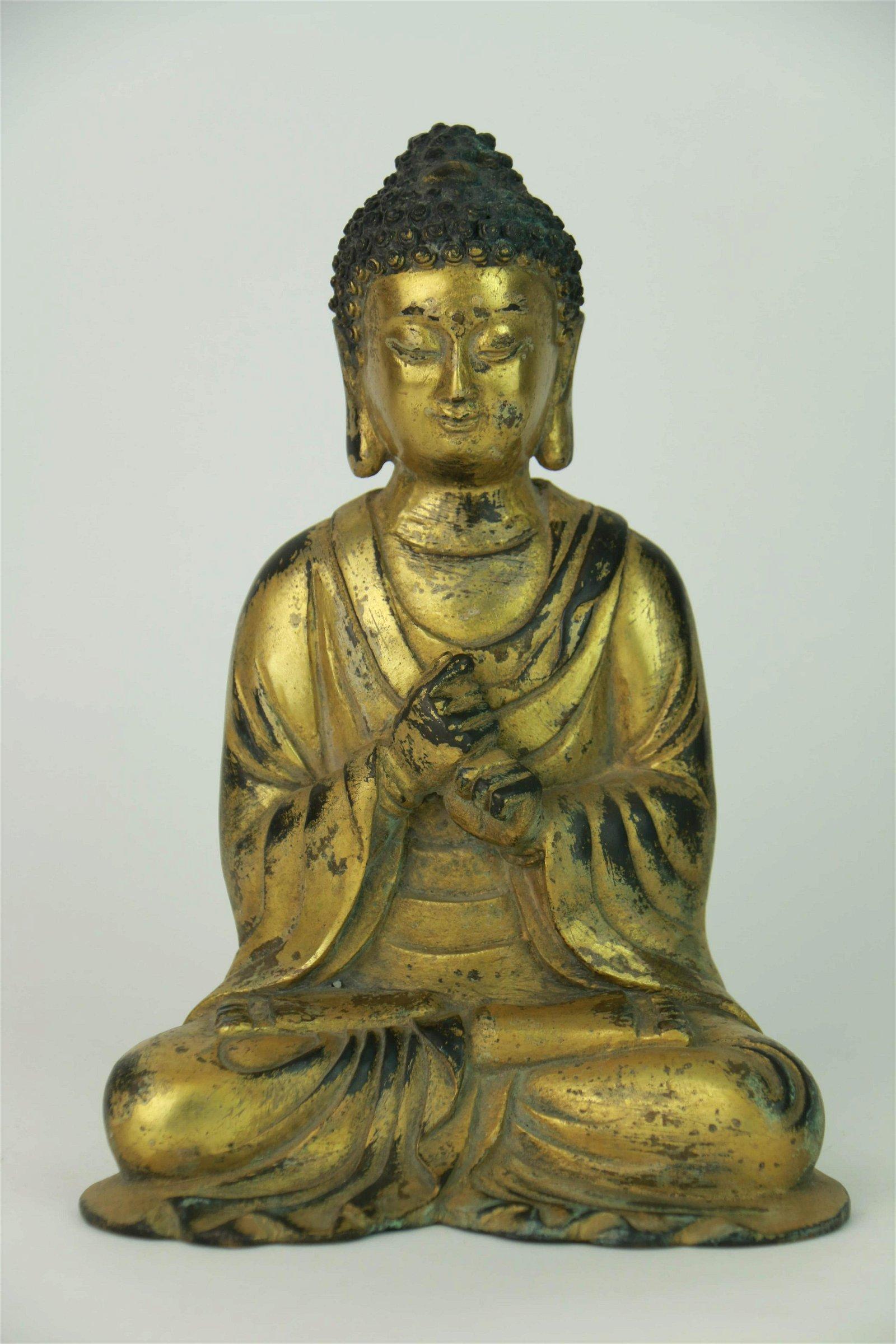 A Chinese Bronze Gilding Buddha Statue of Sakyamuni