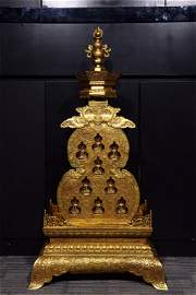 A Chinese Bronze Gilding Gourd-shaped Buddhist Casket