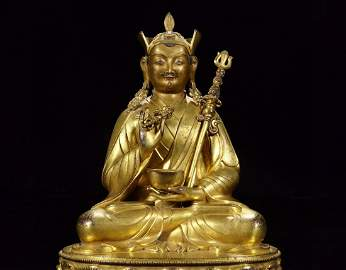A Chinese Bronze Gilded Buddha Seated Statue