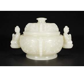 A Chinese Hetian Jade Incense Burner With Cover