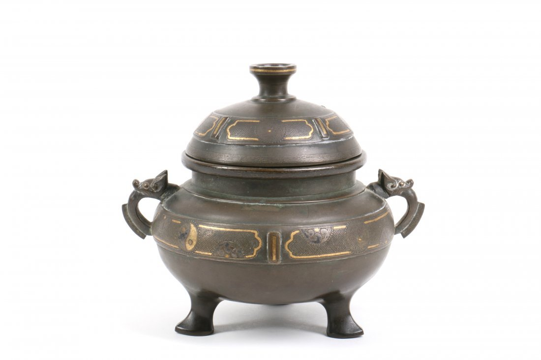 Chinese Bronze Censer with Gold Silver Inlay