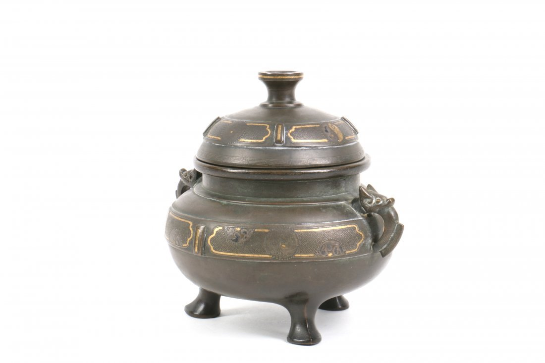 Chinese Bronze Censer with Gold Silver Inlay - 2