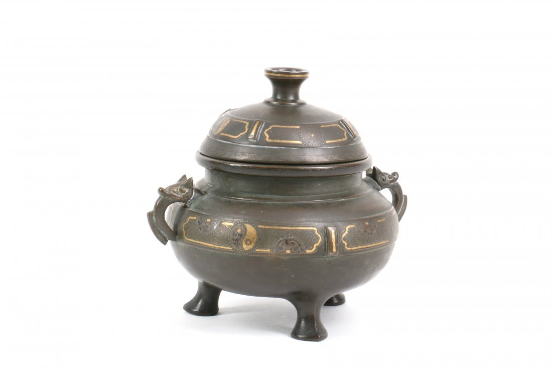 Chinese Bronze Censer with Gold Silver Inlay - 3