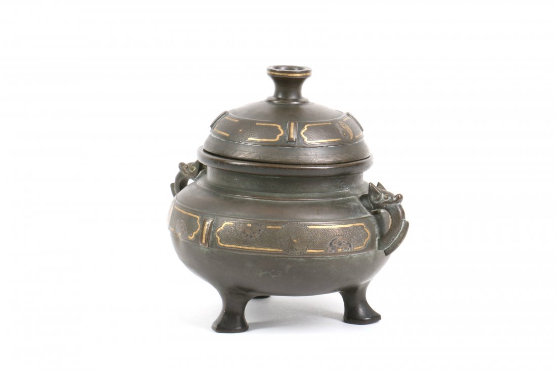 Chinese Bronze Censer with Gold Silver Inlay - 4