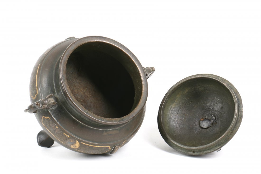 Chinese Bronze Censer with Gold Silver Inlay - 5