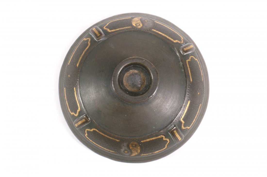 Chinese Bronze Censer with Gold Silver Inlay - 7
