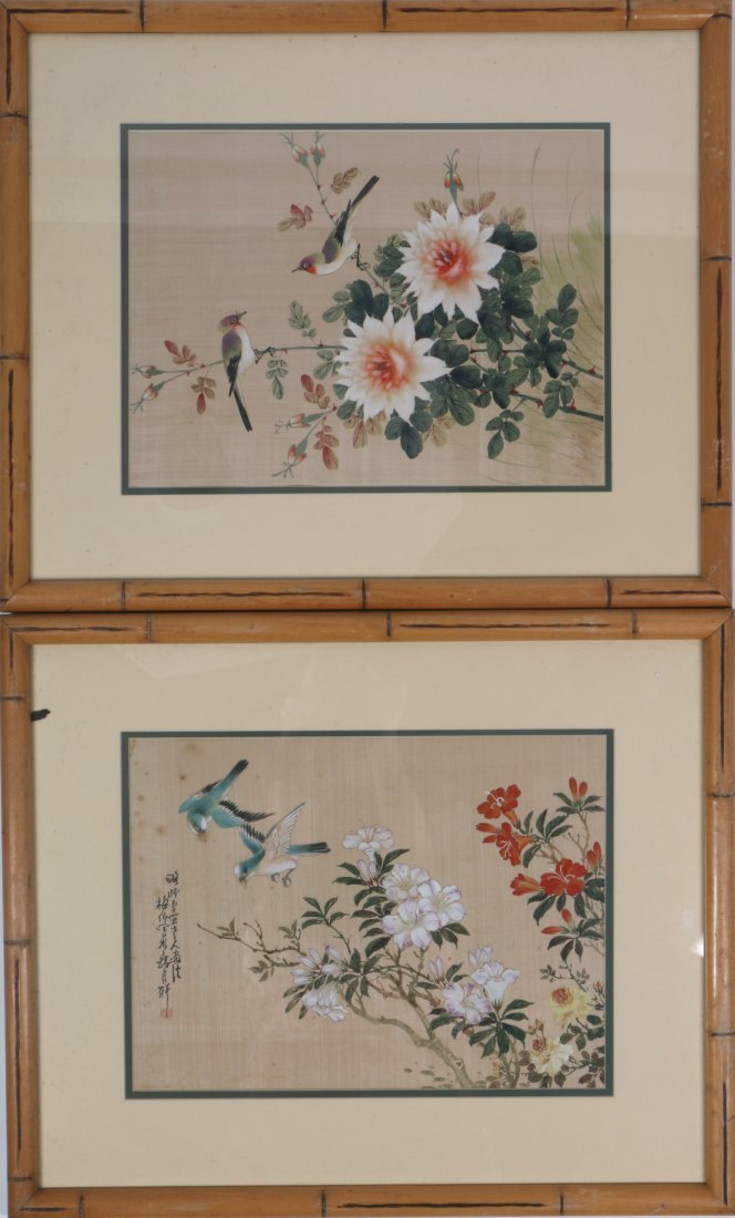 Pair Chinese Painting of Floral and Bird Scene