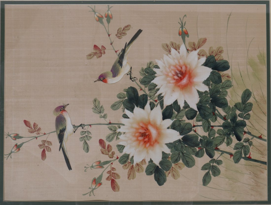 Pair Chinese Painting of Floral and Bird Scene - 2