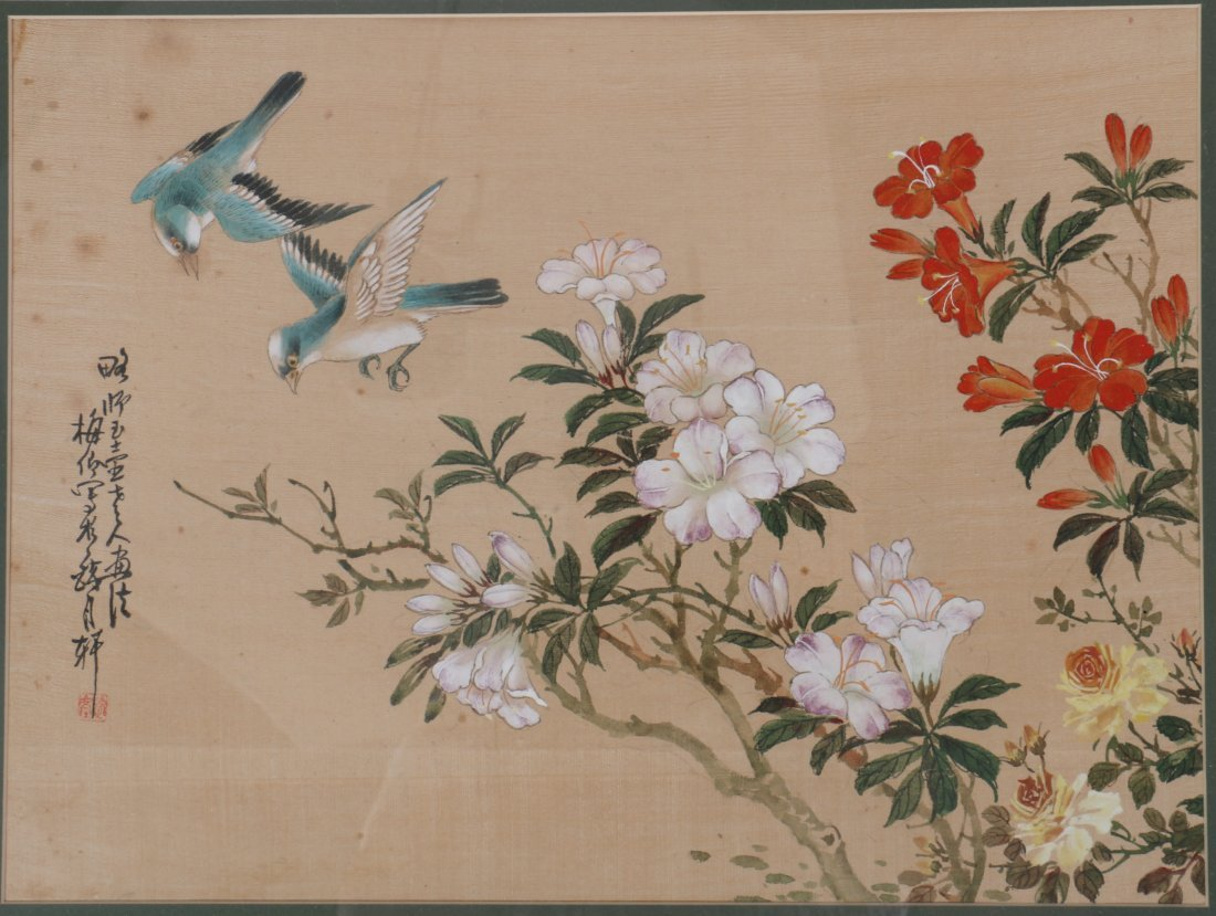 Pair Chinese Painting of Floral and Bird Scene - 3