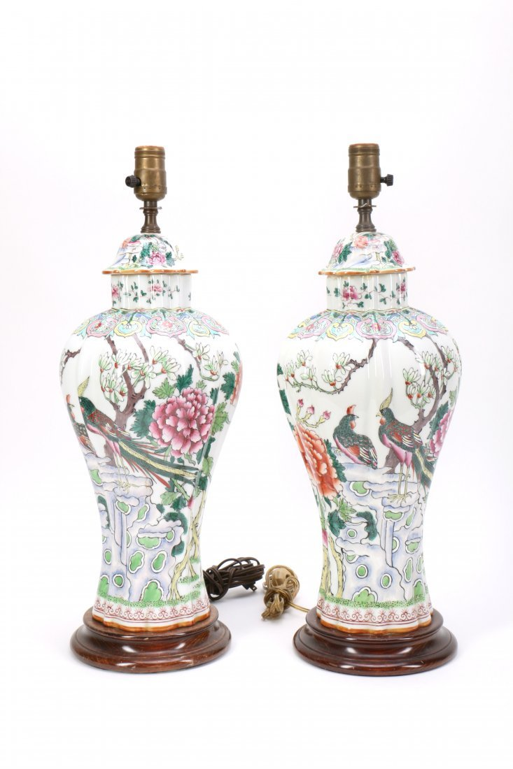 Pair Chinese Porcelain Lamp Vases