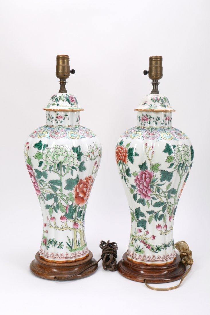 Pair Chinese Porcelain Lamp Vases - 3