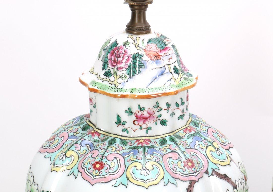 Pair Chinese Porcelain Lamp Vases - 5