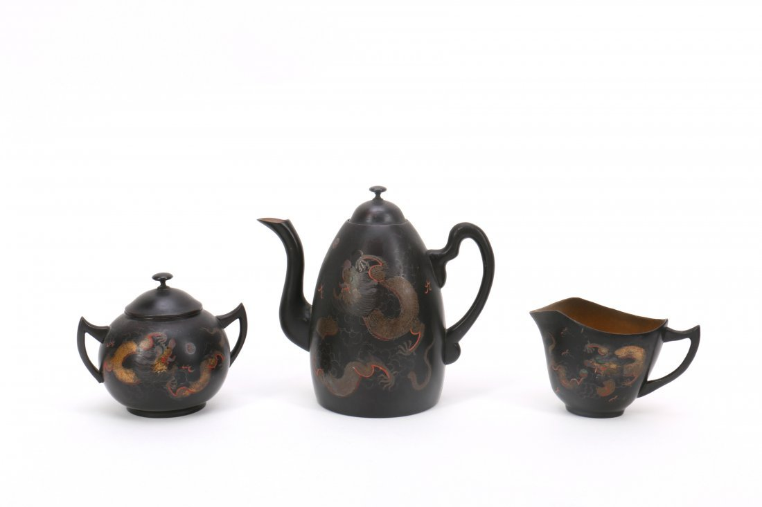 Chinese FuZhou Lacquer Tea Set - 2