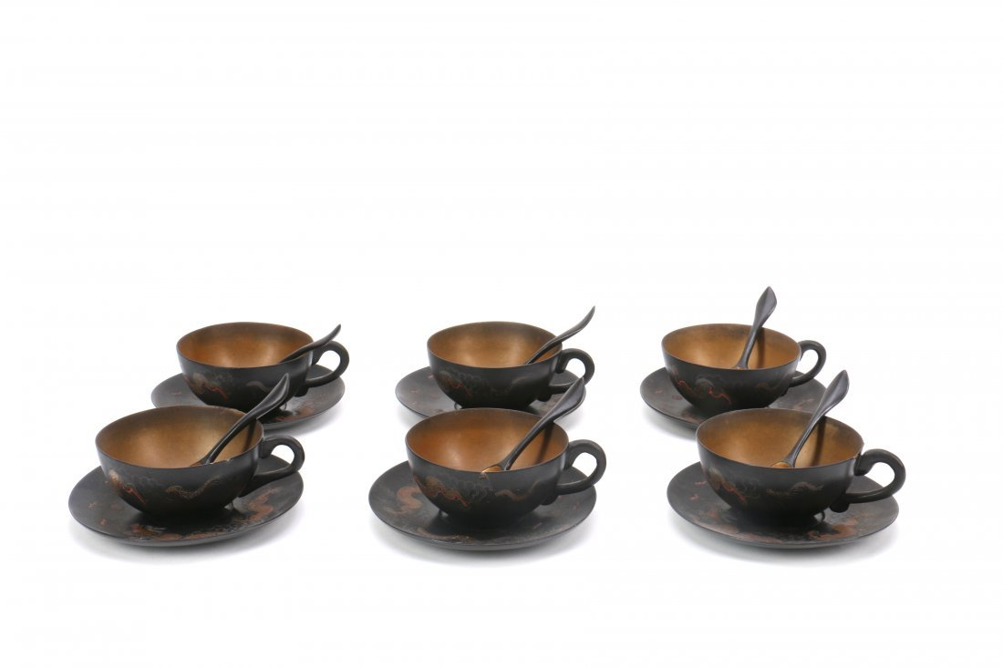 Chinese FuZhou Lacquer Tea Set - 9