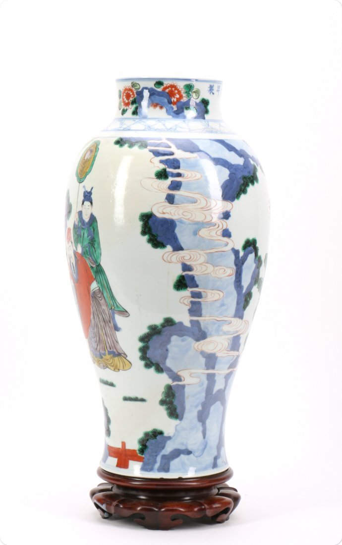 Chinese Wucai Porcelain Vase with Figural Scene - 3