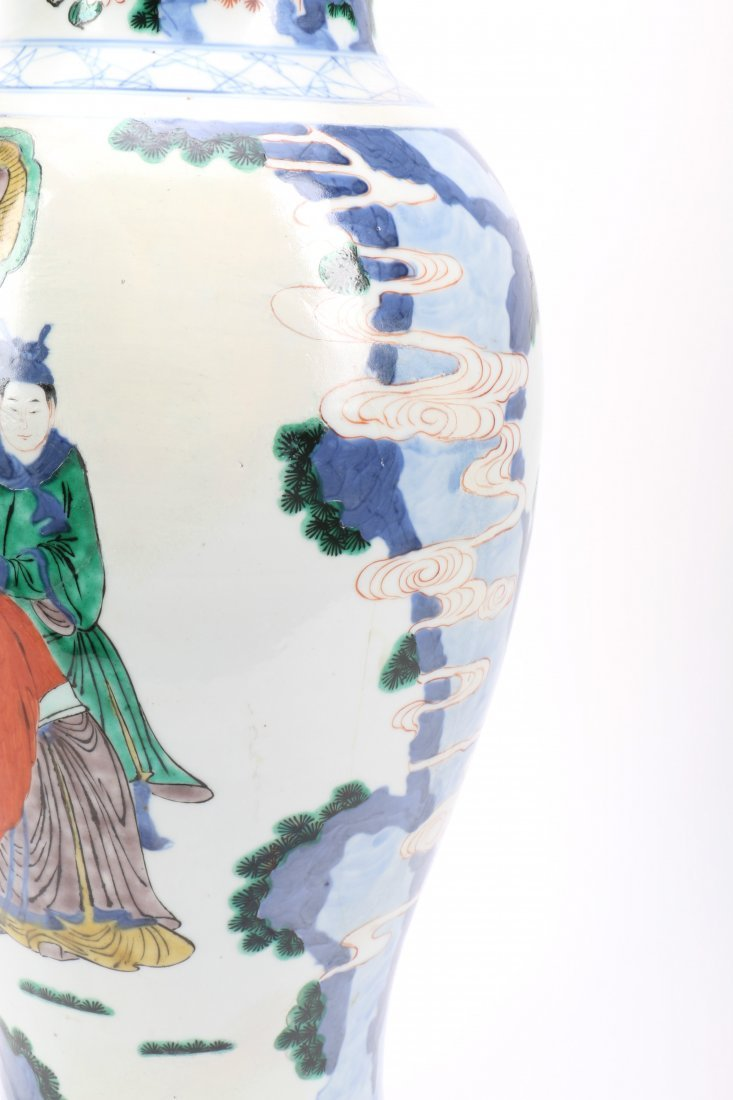 Chinese Wucai Porcelain Vase with Figural Scene - 8