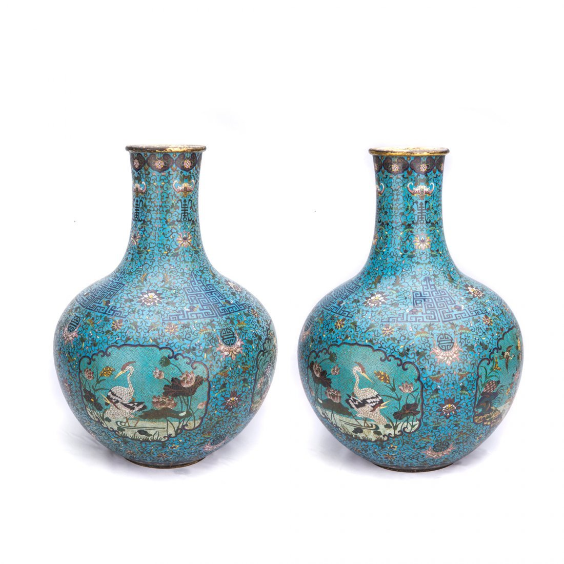 Pair of Large Chinese Cloisonna Vases