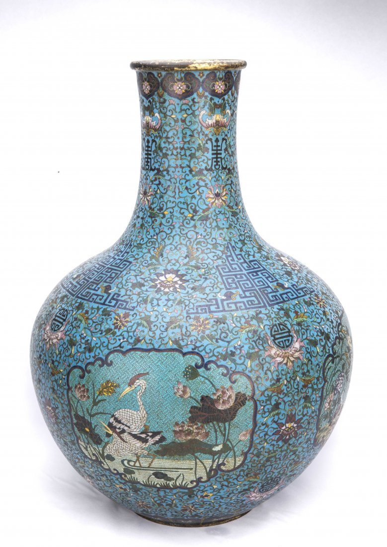 Pair of Large Chinese Cloisonna Vases - 2
