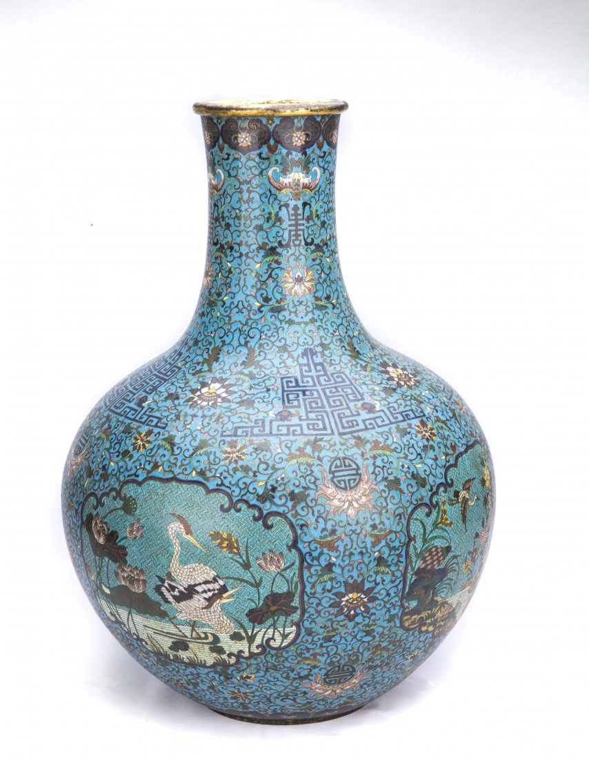Pair of Large Chinese Cloisonna Vases - 3