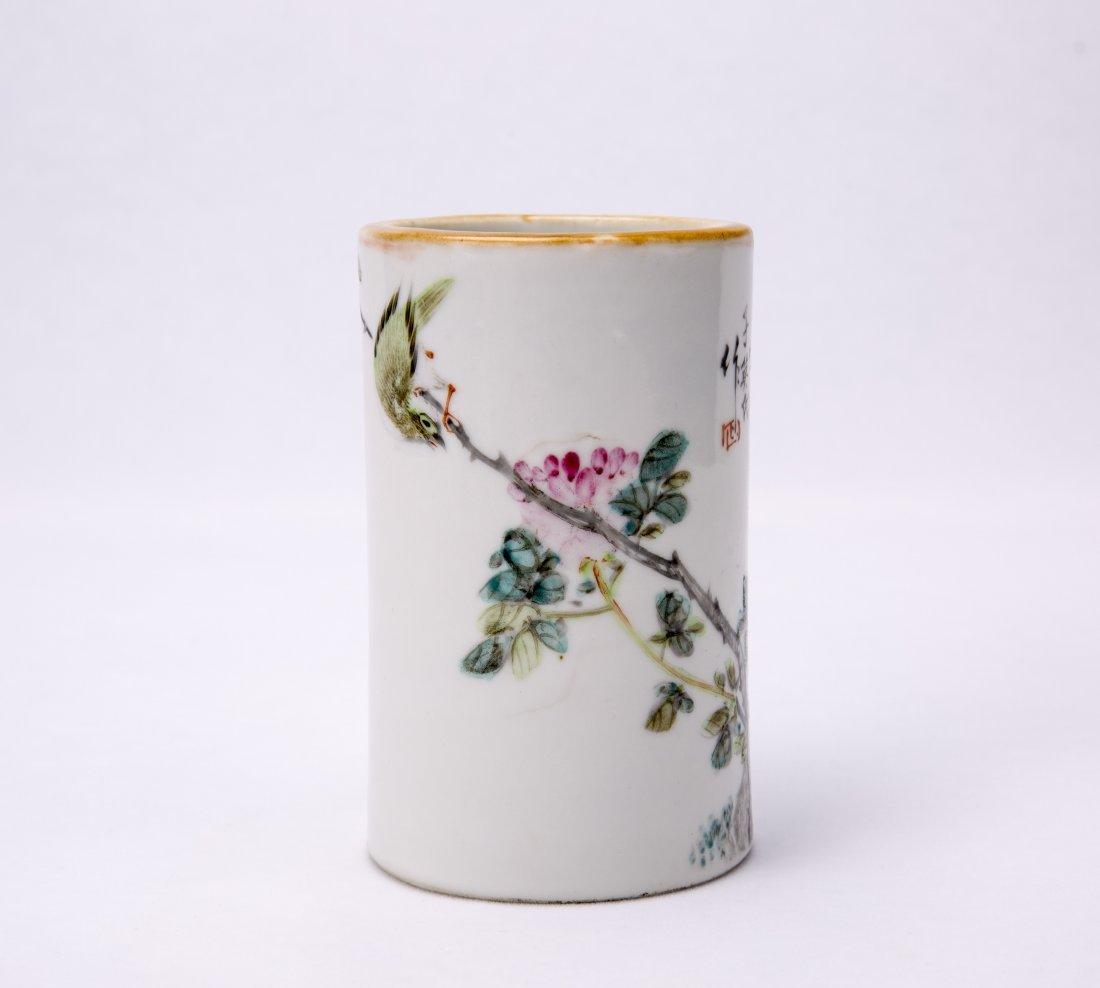 Chinese Famille-Rose Porcelain Brush Pot - 2
