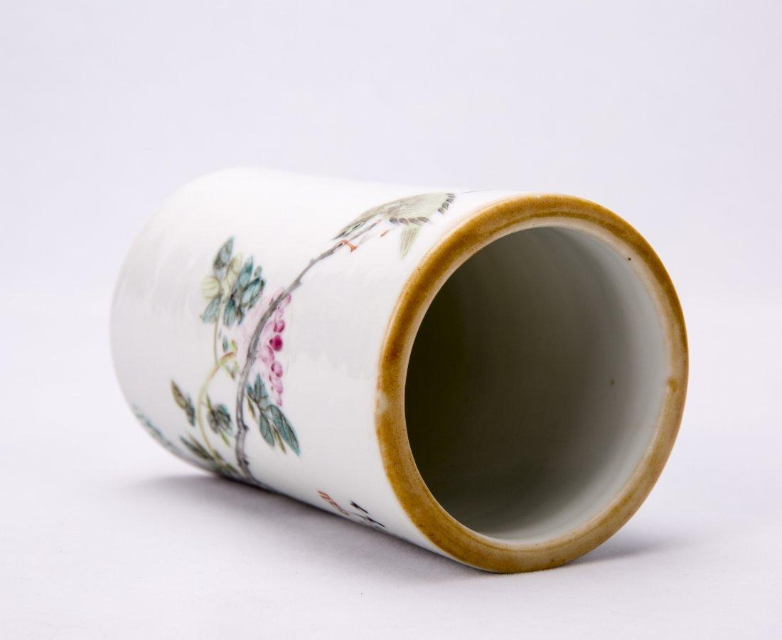 Chinese Famille-Rose Porcelain Brush Pot - 6