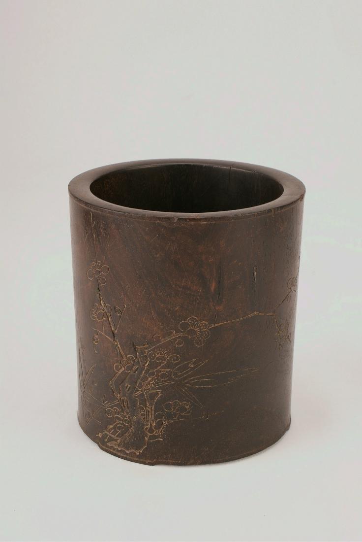 A Chinese Zitan Brush Pot