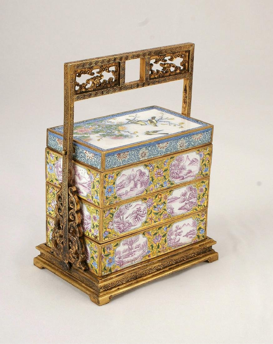 A Chinese Cloisonné Box with Cover and Handle