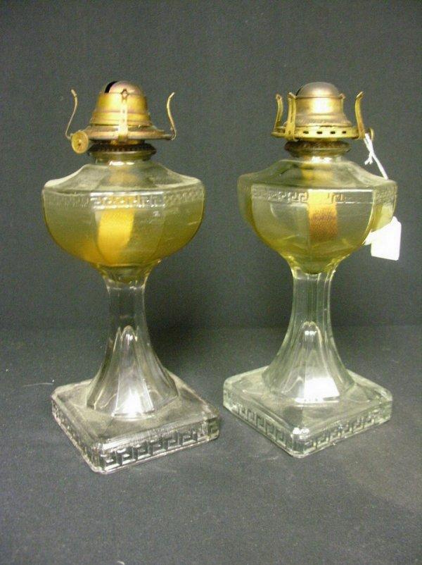 832: PAIR OF GREEK KEY OIL LAMPS