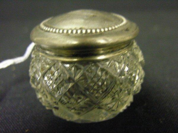 836: ABP CUT GLASS JAR STERLING LID