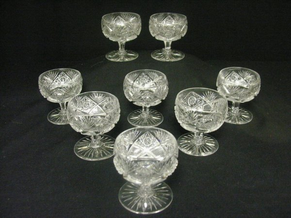 837: 8 ABP CUT CRYSTAL GLASS STEMS