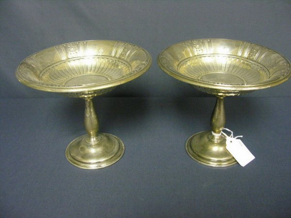 1001: PAIR GORHAM STERLING WEIGHTED COMPOTES
