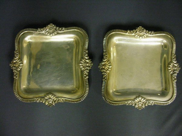 1004: PAIR STERLING FOOTED SQUARE PLATES