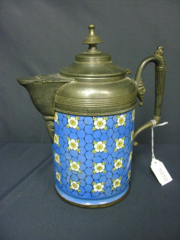 1010: VICTORIAN ENAMEL AND SILVER PLATE TEA OR COFFEE P