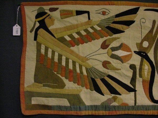 1181 Vintage Applique Egyptian Motif Wall Hanging Lot 1181