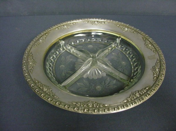 3: STERLING AND CUT GLASS DIVIDED BOWL