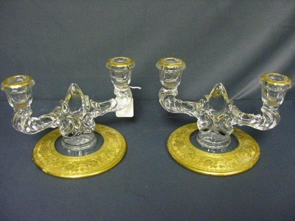 9: PAIR OF ELEGANT DEPRESSION GLASS CANDLE HOLDERS