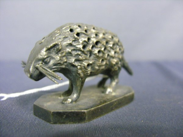 87: WILCOX SILVER PLATE PORCUPINE TOOTHPICK HOLDER - 3