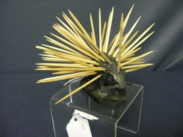 87: WILCOX SILVER PLATE PORCUPINE TOOTHPICK HOLDER - 6