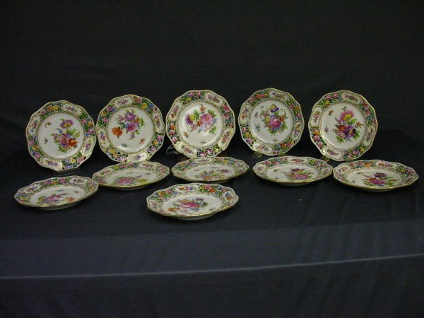169: 11 DRESDEN GERMANY FLORAL PLATES