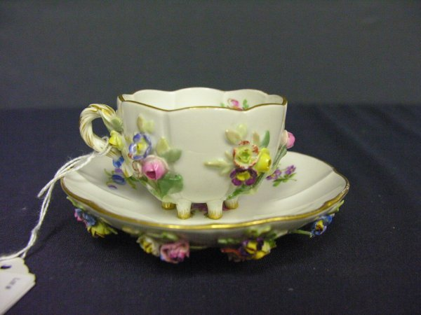 254: MEISSEN GERMAN PORCELAIN CUP AND SAUCED