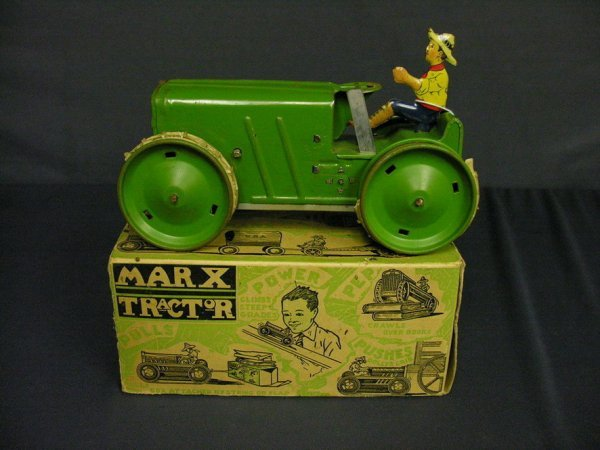 602: MARX WIND UP TRACTOR WITH ORIGINAL BOX